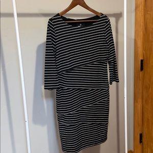 3/4 length sleeve Ronni Nicole stripe dress